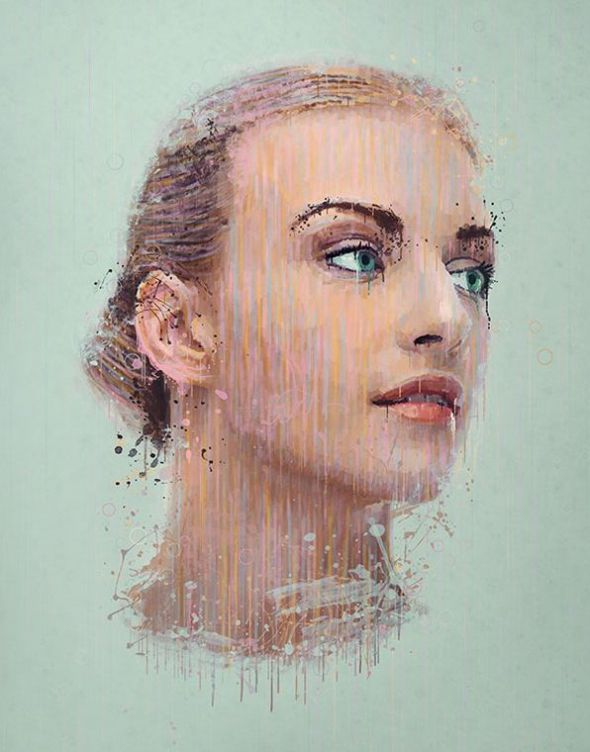 manipulate a portrait photo to create a splatter paint